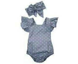 2Pcs/Set Polka Dot Newborn Baby Girls Clothes + Baby Toy Gif