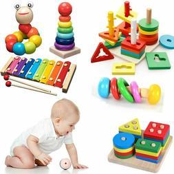 Kids Montessori Wooden Toys Rainbow Blocks Learning Rattles